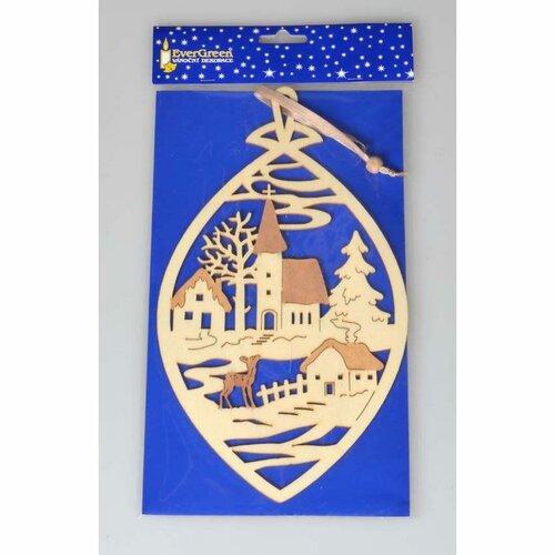 Vánoční závěsná dekorace Zimní vesnička, hnědá