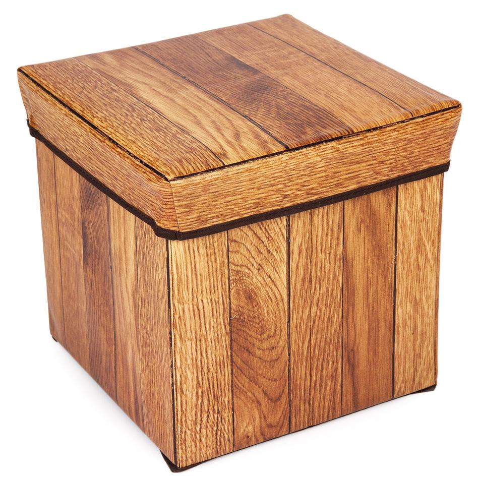 Úložný sedací box Wooden Nut, 30 x 30 x 30 cm