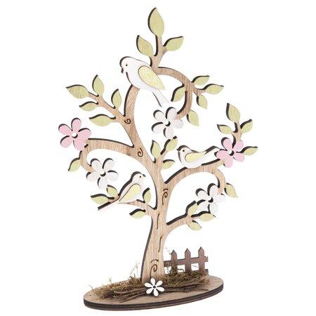 Dřevěná dekorace Kvetoucí strom s plůtkem, 18,5 x 27,5 cm