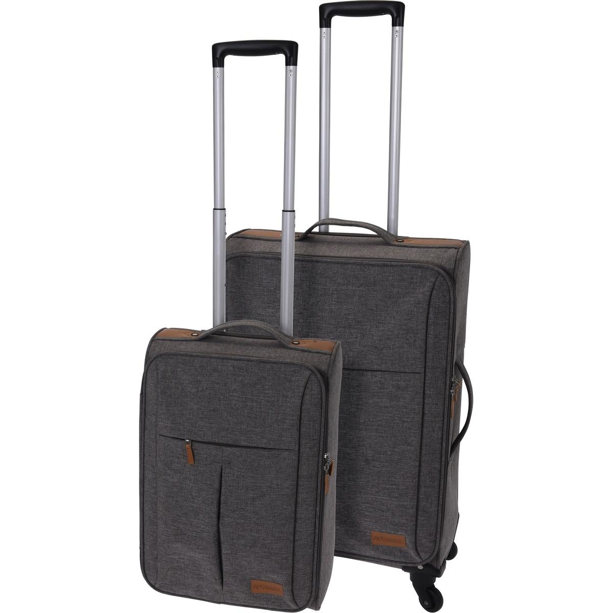 Koopman Sada textilných kufrov na kolieskach 2 ks, svetlosivá