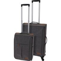 Sada textilních kufrů na kolečkách 2 ks, světle šedá