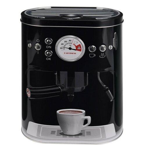 Plechová dóza s motivem kávovaru černá