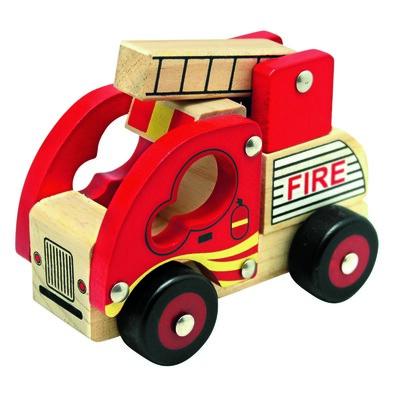 Bino Dřevěné auto Hasiči, červená