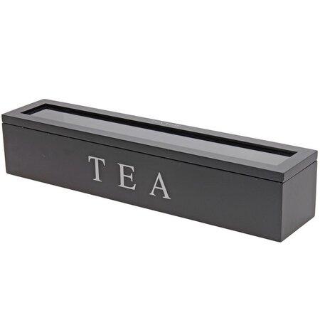 Box na čajové sáčky 43 x 9 x 8,7 cm, černá