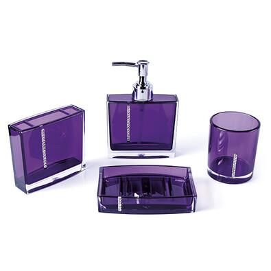 Sada fialových koupelnových doplňků, fialová