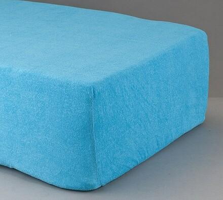 Prostěradlo froté, modré, 90 x 200 cm