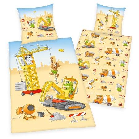 Herding Dziecięca pościel bawełniana Mały Budowniczy, 140 x 200 cm, 70 x 90 cm