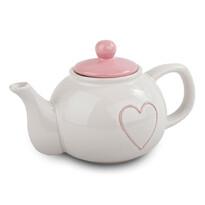 Czajniczek ceramiczny Heart 1 l, jasnoczerwony