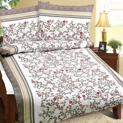Virág krepp ágynemű, barna, 140 x 200 cm, 70 x 90 cm