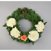 Dušičkový veniec s chryzantémami 30 cm, krémová