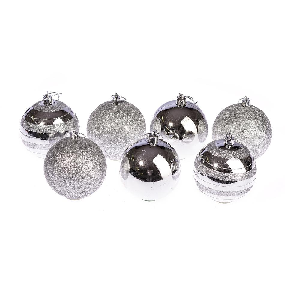 HTH Vánoční koule 7 ks stříbrná pr. 8 cm