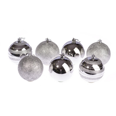 Vánoční koule 7 ks, stříbrná