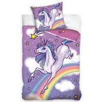 Lenjerie de pat din bumbac, pentru copii, Unicorn și Curcubeu, 140 x 200 cm, 70 x 80 cm
