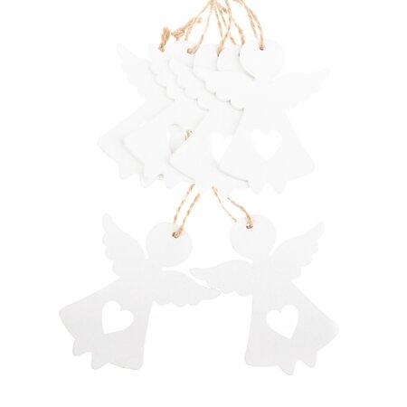Sada vianočných drevených ozdôb Anjel biela, 6 ks
