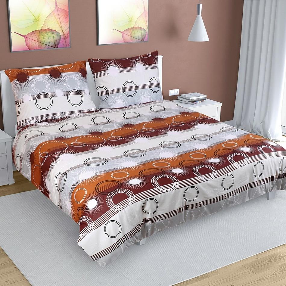 Bellatex Bavlnené obliečky Lúče hnedá, 180 x 200 cm, 50 x 70 cm
