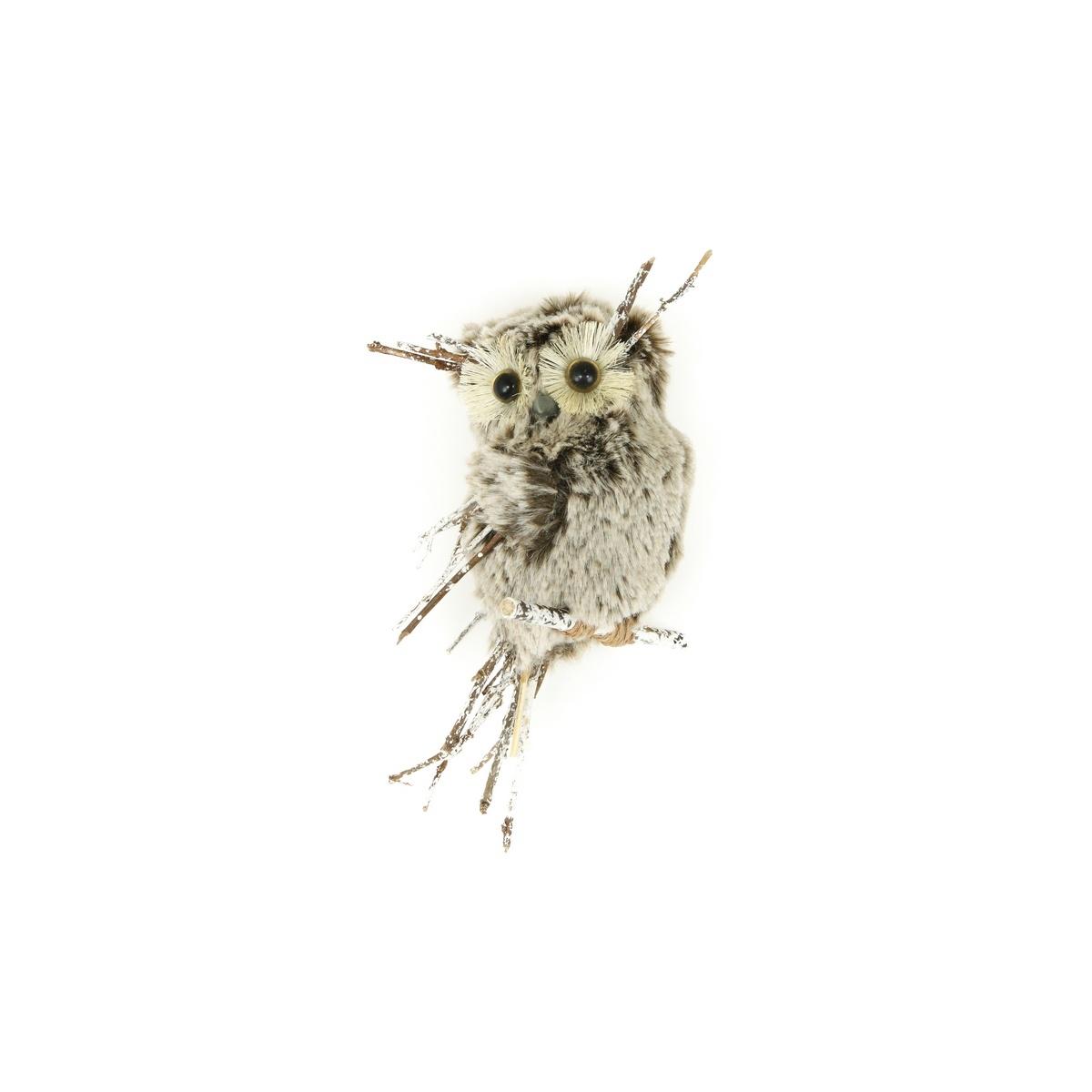 Zimní dekorace Sova s plyšem, 15 cm