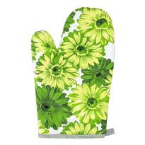 Mănușă bucătărie Flori, verde, 28 x 18 cm
