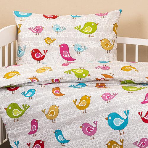 Detské bavlnené obliečky do postieľky Vtáčiky, 90 x 140 cm, 45 x 65 cm