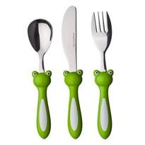 Banquet 3dílná sada dětských příborů Frog, zelená