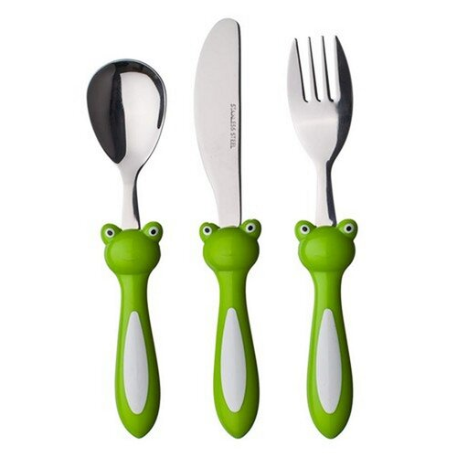 Banquet 3-dielna sada detských príborov Frog,  zelená