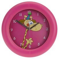 Nástenné hodiny Giraffe ružová, 26 cm