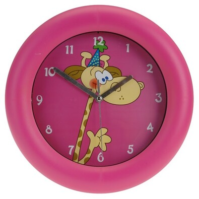 Nástěnné hodiny Giraffe růžová, 26 cm