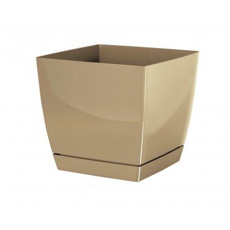 Coubi Square virágtartó tálcával, kávészínű, 18 cm