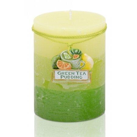 Vonná svíčka Citrus green tea pudding válec, 7 x 9 cm