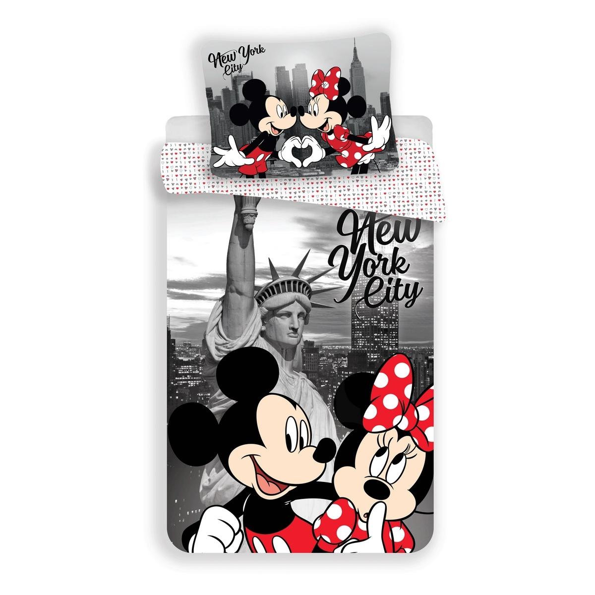 Jerry Fabrics Dětské povlečení Mickey and Minnie in New York micro, 140 x 200 cm, 70 x 90 cm