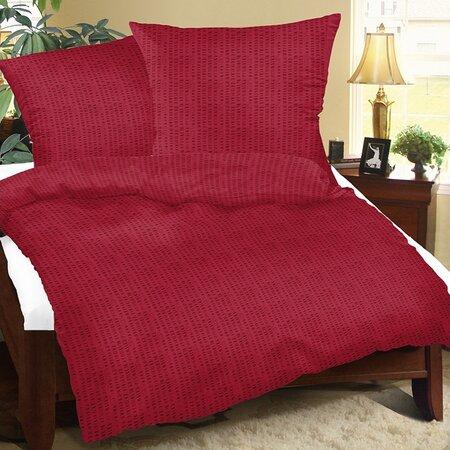 Lenjerie pat 2 pers. UNI bordo, creponată,  220 x 200 cm, 2x 50 x 70 cm