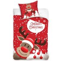 Vánoční bavlněné povlečení Sob Rudolf, 140 x 200 cm, 70 x 90 cm