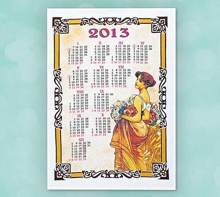 Textilní kalendář na rok 2013, Panna s kyticí