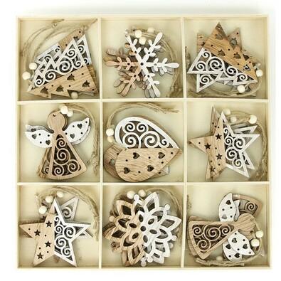 Dřevěné ozdoby na vánoční stromeček 27 ks, hnědá