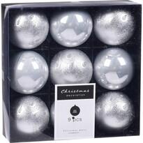 Sada vánočních ozdob Fraisse stříbrná, 9 ks, pr. 6 cm