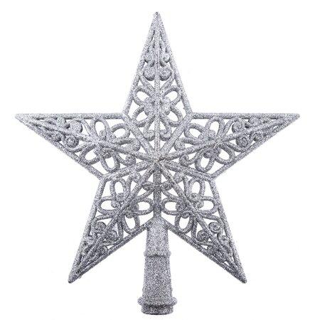 Vánoční hvězda na stromek Shiny stříbrná, 20 x 20  x 3 cm