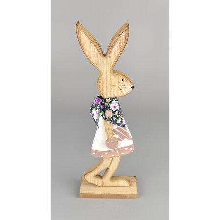 Wielkanocny zajączek drewniany Maciej różowy, 24 cm