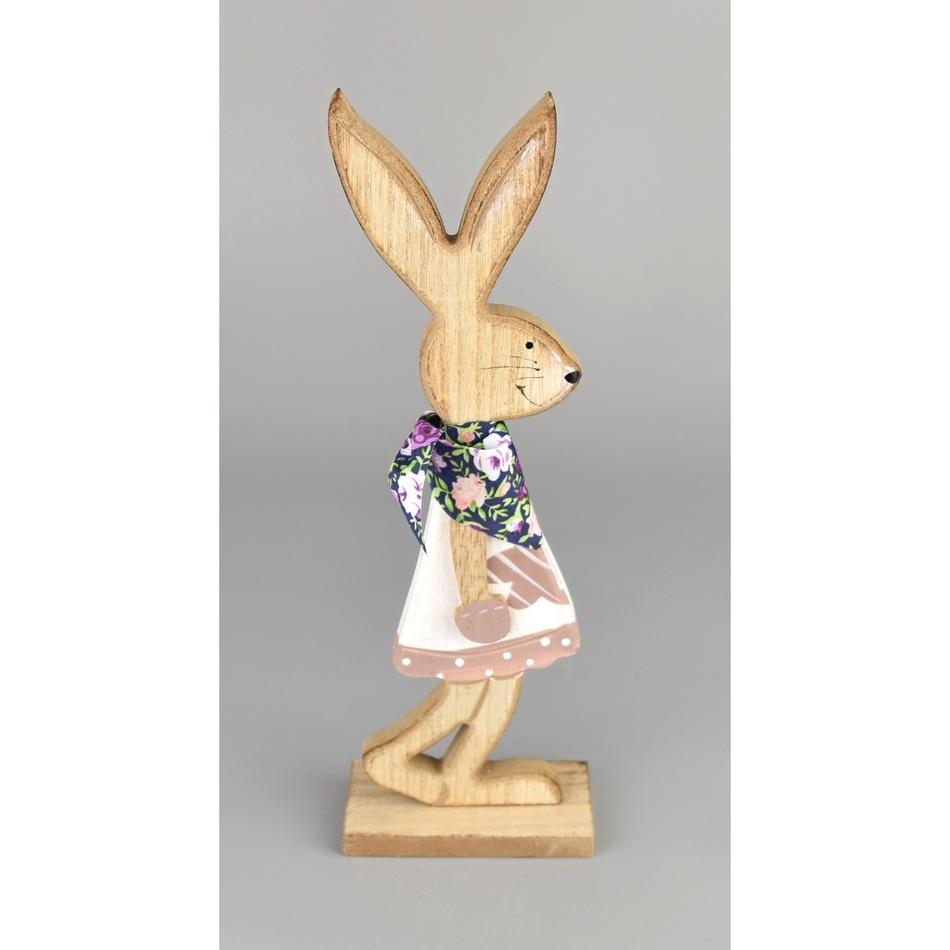 Velikonoční dřevěný zajíček Matěj růžová, 24 cm
