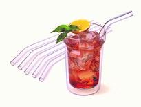 Zestaw szklanych słomek ze szczoteczką do czyszczenia, wygięte 20cm, 6szt.