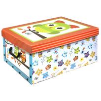 Box s víkem Owl 49 x 24 x 39 cm, oranžové víko