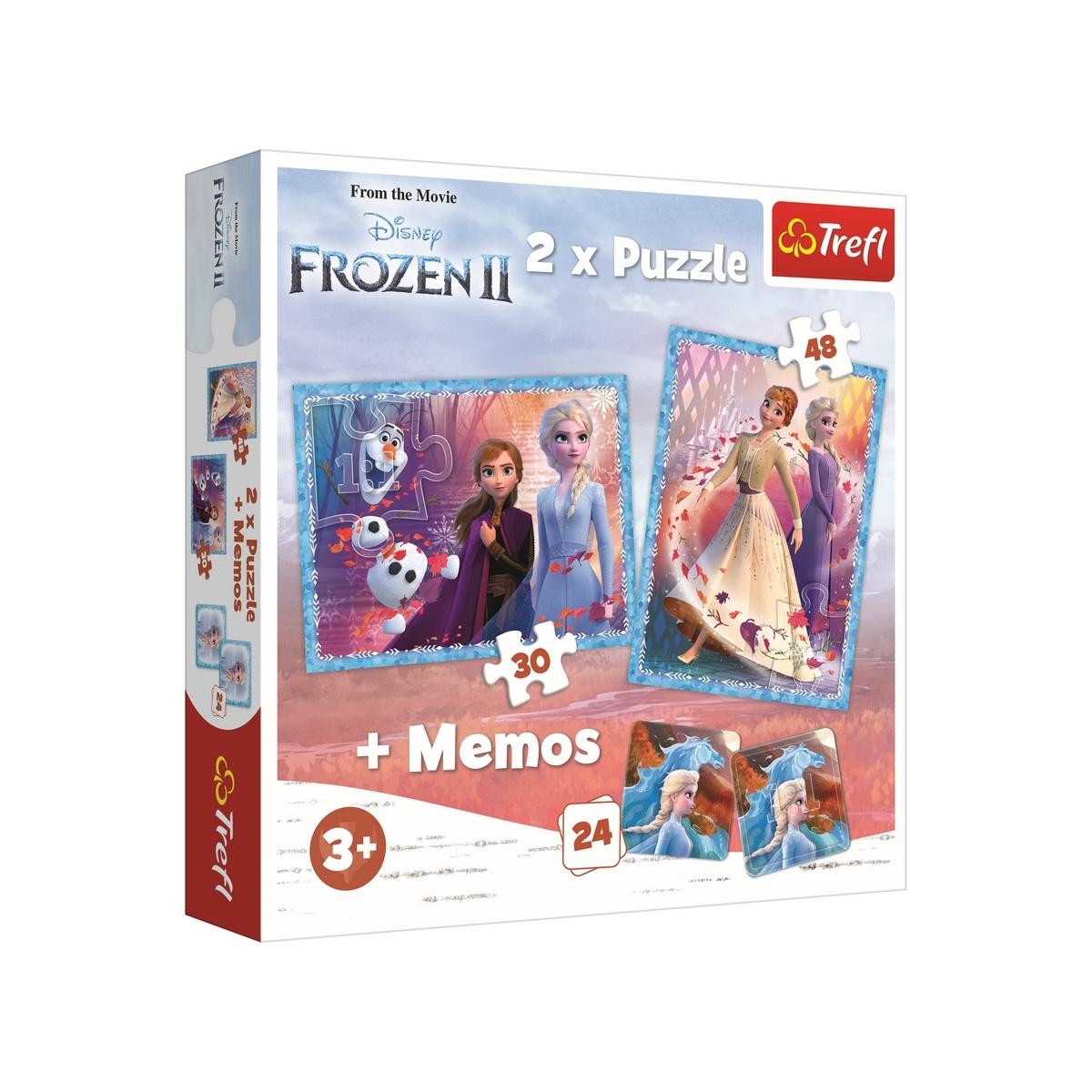 Trefl detské puzzle Ľadové kráľovstvo 2x puzzle + memo