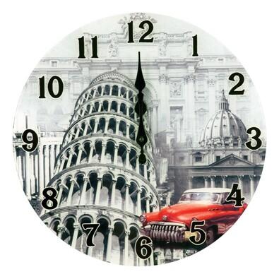 Nástěnné skleněné hodiny Itálie 34 cm