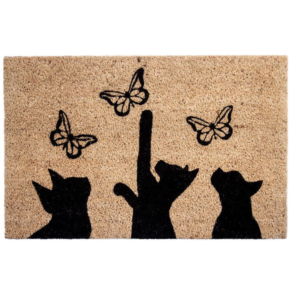 Fotografie BO-MA Kokosová rohožka Kočky a motýli, 40 x 60 cm