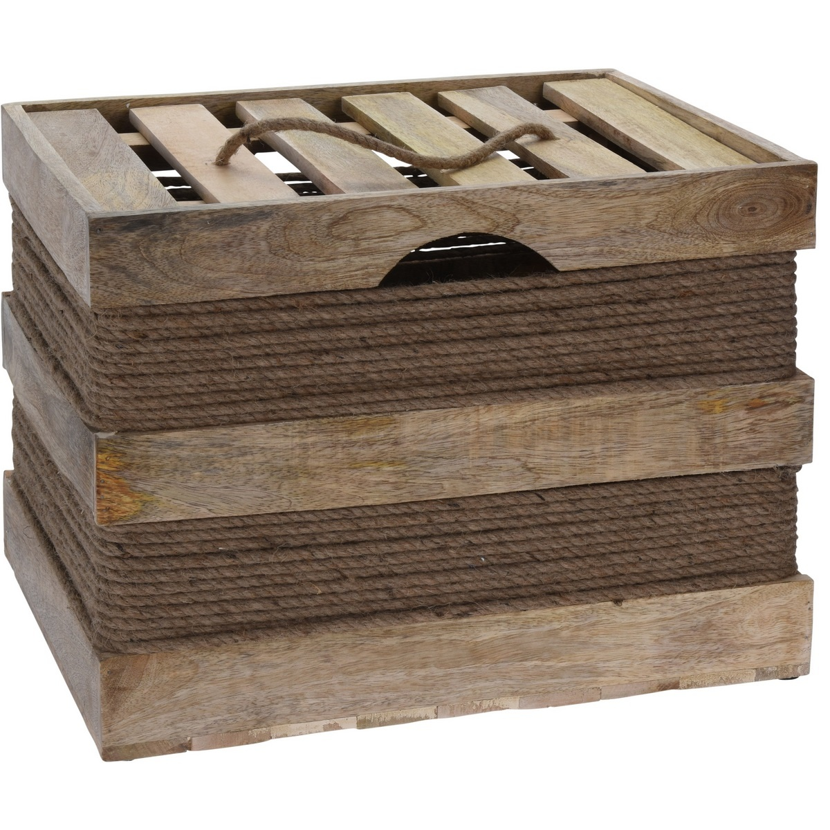 Koopman Sada dekoračních dřevěných boxů Mango wood, 2 ks