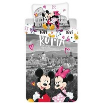 Lenjerie bumbac Jerry Fabrics Mickey and Minnie in Rome, 140 x 200 cm, 70 x 90 cm