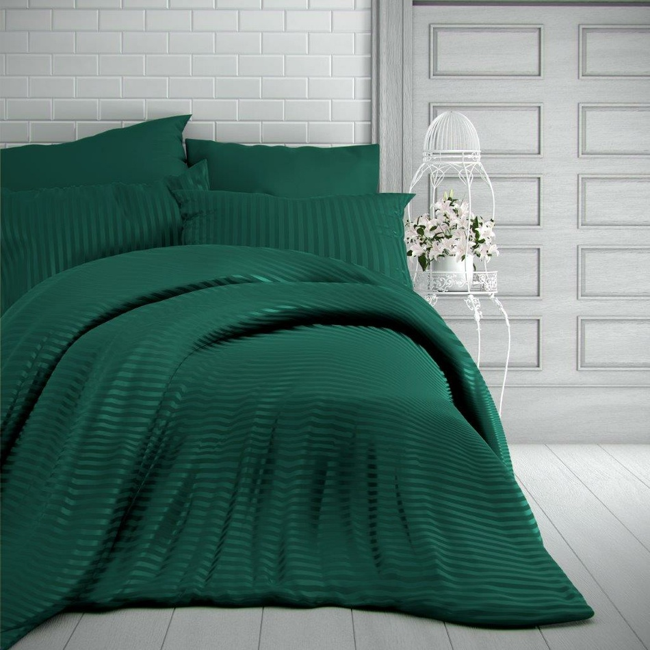 Kvalitex Saténové povlečení Stripe tmavě zelená, 140 x 220 cm, 70 x 90 cm