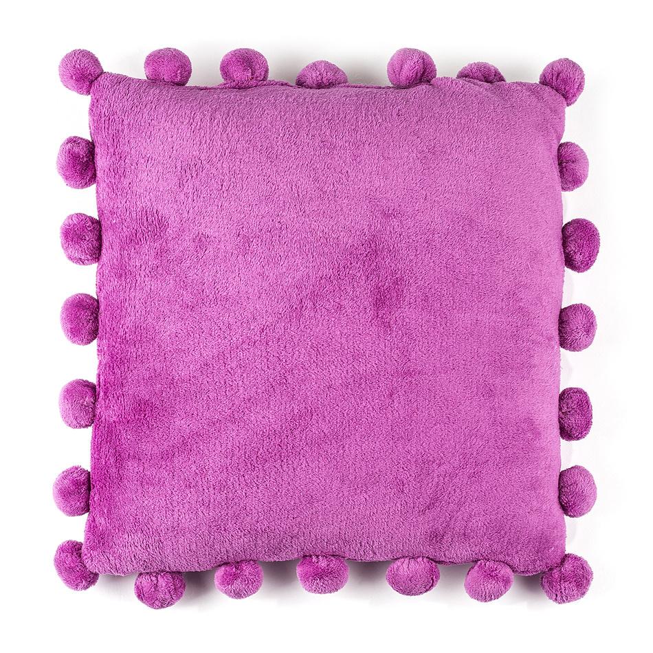 BO-MA Vankúšik Pompon fialová, 45 x 45 cm,