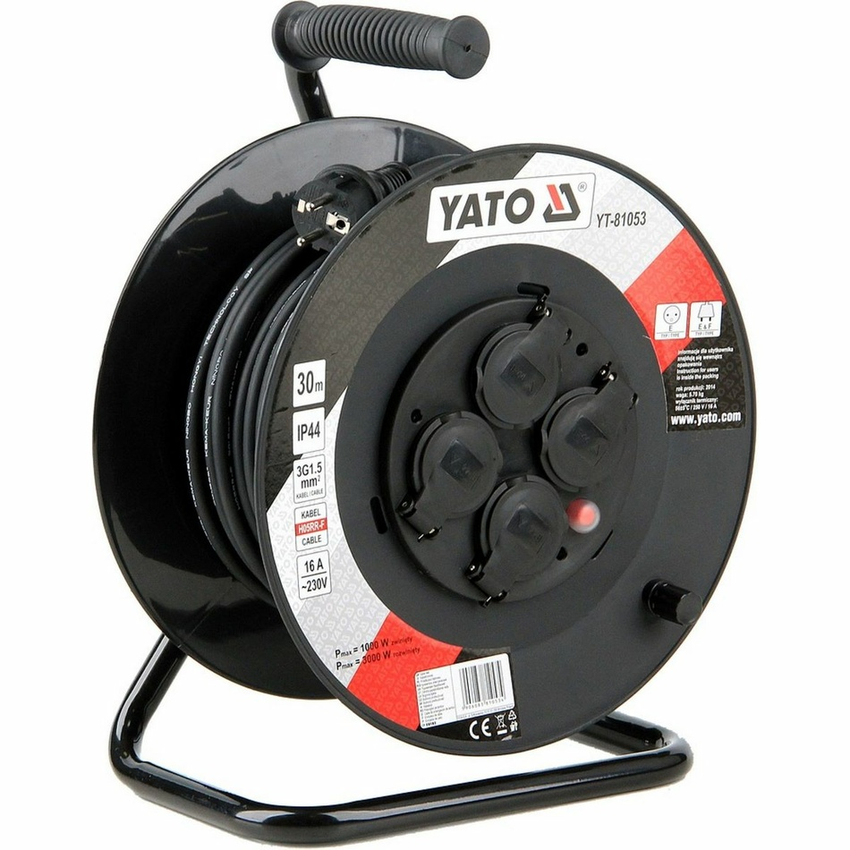 Yato YT-81053 Bubnový predlžovací kábel so 4 zásuvkami, 30 m