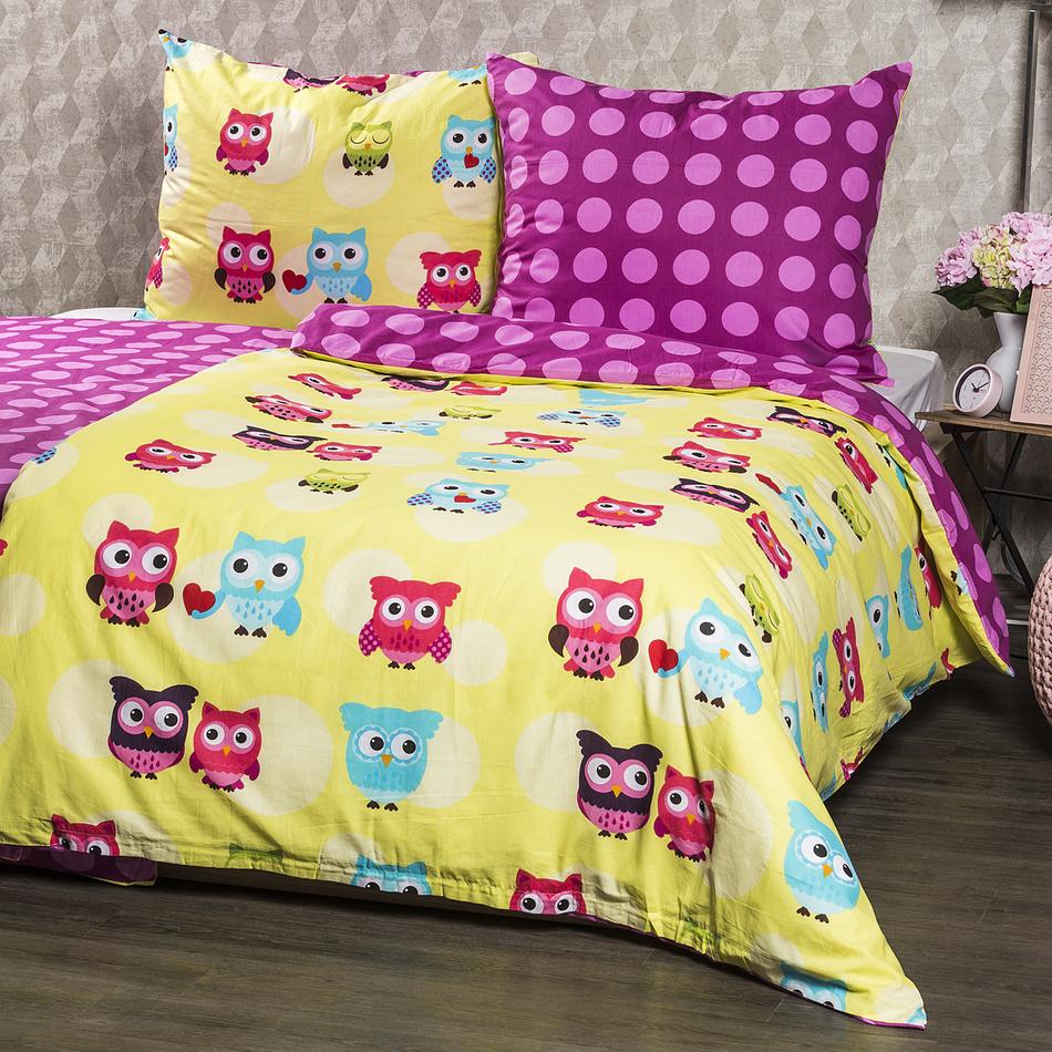 4Home Bavlnené obliečky Sovičky, 220 x 200 cm, 2 ks 70 x 90 cm