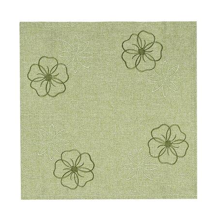 Vyšívaný ubrus Květy na zelené, 35 x 35 cm