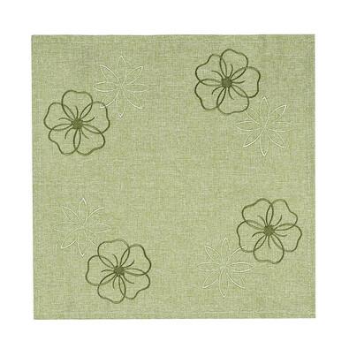Haftowany obrus  Kwiaty na zielono, 35 x 35 cm